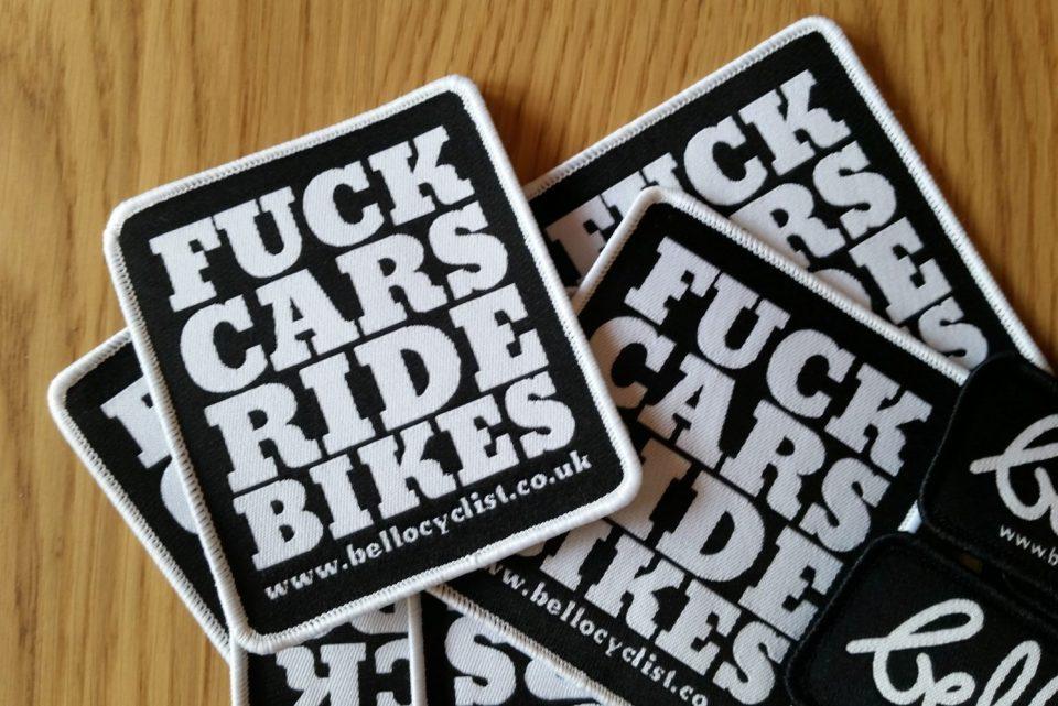 BELLO CYCLIST FUCK CARS RIDE BIKES WOVEN PATCH